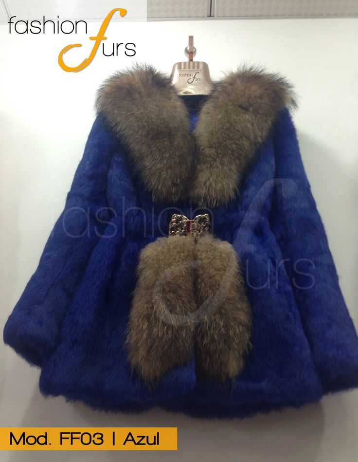 MOD FF03  color azul ABRIGO DE PIEL DE CONEJO CON RACCON ventas@fashionfurs.com.mx