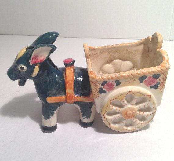 Vintage donkey with cart flower pot  burrow by EverythingVintageBC