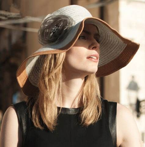 Summer wide brim sun hat for women with flower floppy straw hats package