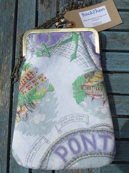 'Hi-de-Hi'. Super bag made from a 1950's scarf showing Pontin's holiday village.
