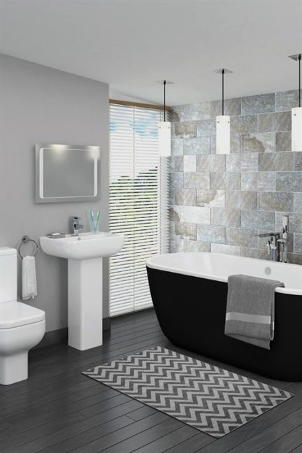 Want The Modern Grey Bathroom Look In Your Home This Stunning Contemporary Design Includes A Black Freestanding Bath