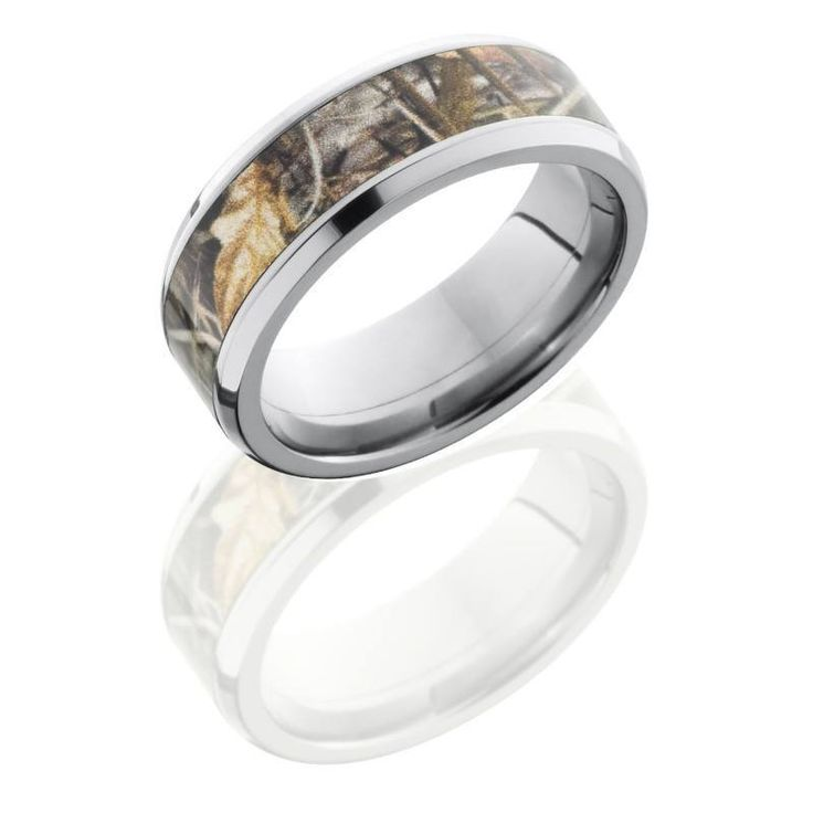 WEDDING - Titanium 8mm Wide Realtree Max4 Camouflage Wedding Band