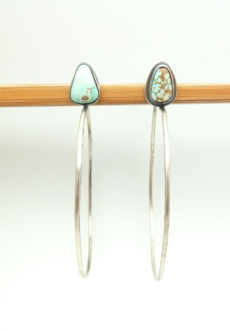 paiute turquoise + silver hoops