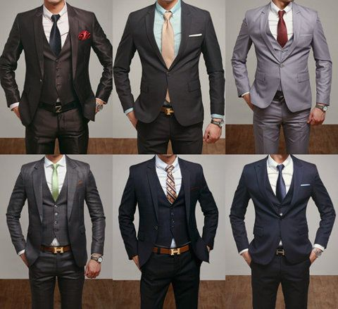 Every man must have a grey, navy, and black suit. These are great variations of the standard! Adding bold ties and prints make these traditional suits more modern and stylish. Vests also add a nice touch of class. #ModernGent #PoshImageMgmt #Posh