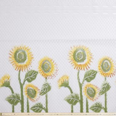 Sunflowers Cafe Continuous Sheer Fabric Multicoloured 90 cm