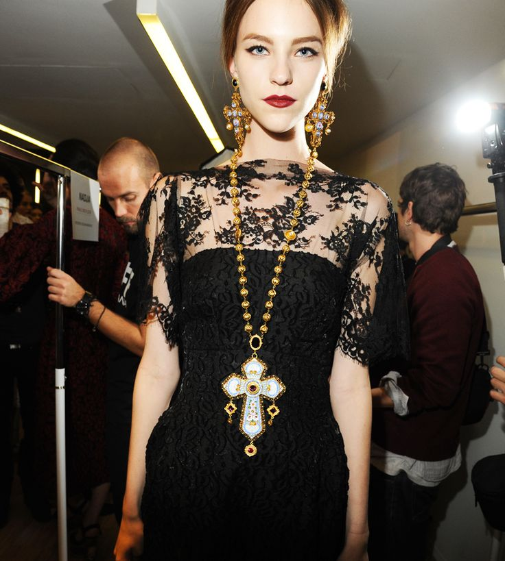Dolce FW 2014 Mosaic Women Collection: The Jewellery - Enamelled rosary like maxi corss necklace