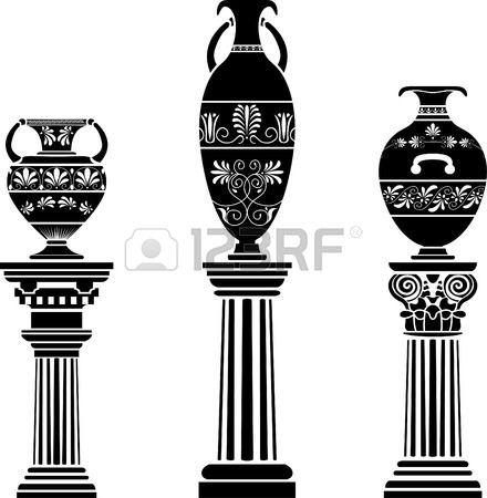 Vase grec antique sur colonne ensemble de gabarit Banque d'images