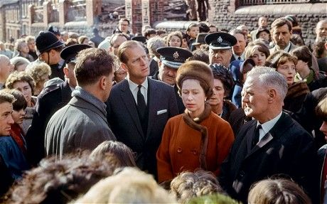 The Queen and Prince Philip visited Aberfan in South Wales on October 29, 1966 after the collapse of a colliery spoil tip killed 116 children and 28 adults (TASCHEN)