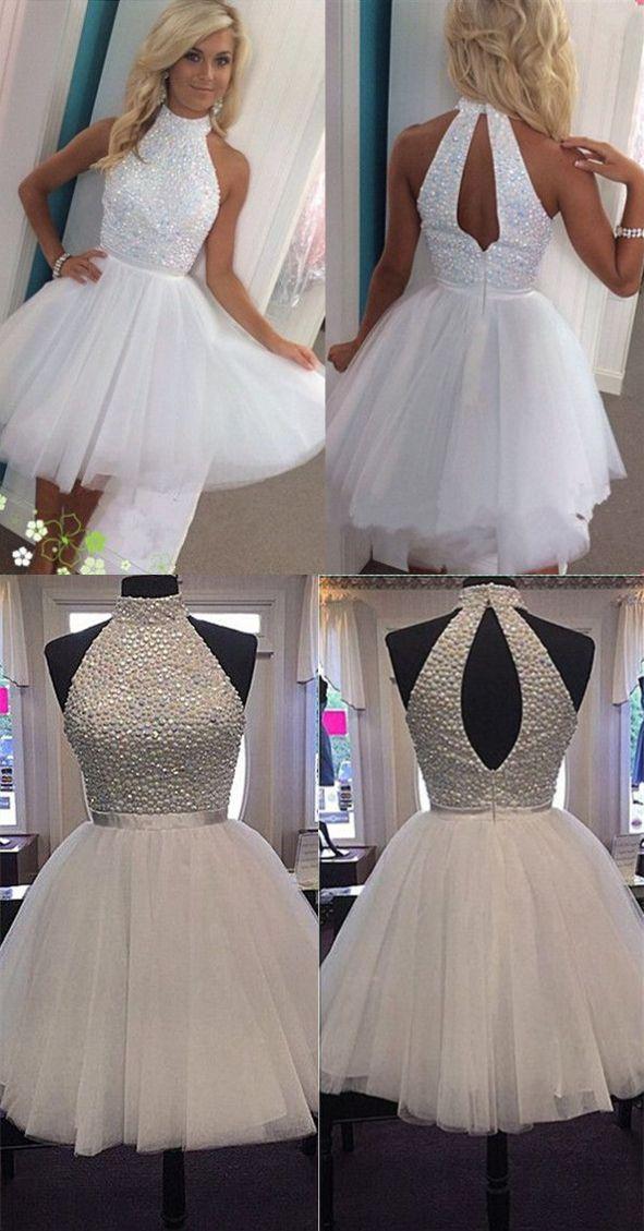 A-line High-neck White Tulle Short Open Back Beaded Homecoming/Prom Dress @veenrol #whitehomecomingdress #openbackdress #beadeddress
