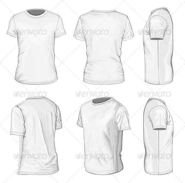 Men's White Short Sleeve T-Shirt  #GraphicRiver         All views men's white short sleeve t-shirt design templates (front, back, half-turned and side views). Vector illustration. You can be scaled this objects to any size without loss of resolution. Eps. and Ai. files are fully editable. The vector file is layered with relevant layer names for easy selection and editing. No gradient, no mesh.     Created: 29May13 GraphicsFilesIncluded: JPGImage #VectorEPS #AIIllustrator Layered: Yes…