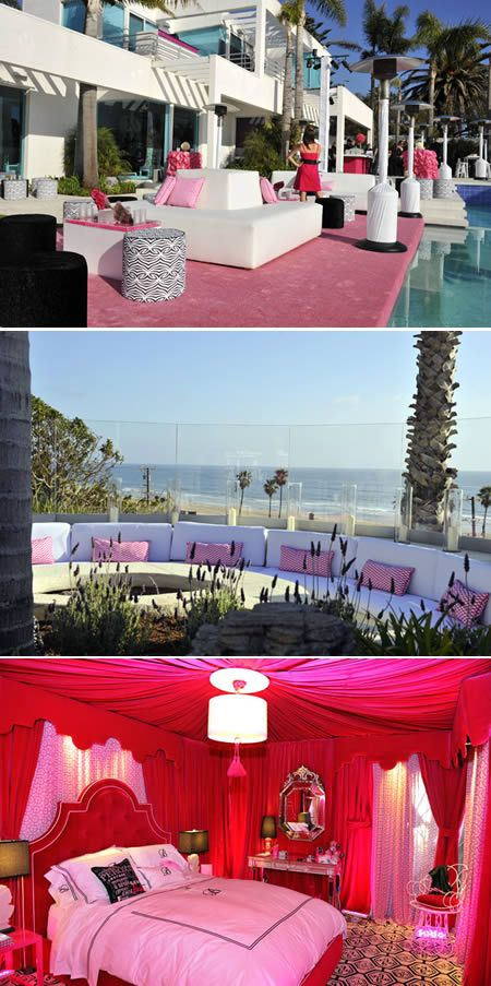10 of the World's Most Insanely Luxurious Houses- 10. Barbie Malibu Mansion – a life-size mansion inspired by Barbie's dream house. In honor of Barbie's 50th birthday celebration, interior decorator extraordinaire, Jonathan Adler, decked out a real-life 3,500-square-foot pad overlooking the Pacific Ocean to look like the blond doll's outrageous home.