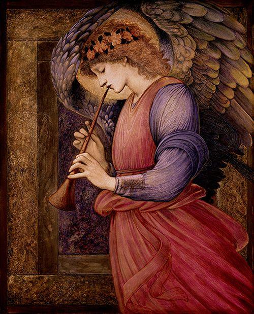 エドワード・バーン=ジョーンズ《フラジオレットを吹く天使》 1878 年 水彩、グワッシュ、金彩・紙 ©Courtesy National Museums Liverpool, Sudley House