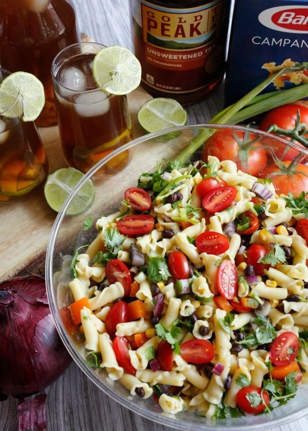 Jordan's Onion: Southwest Pasta Salad and Mango Lime Honey Infused Iced Tea