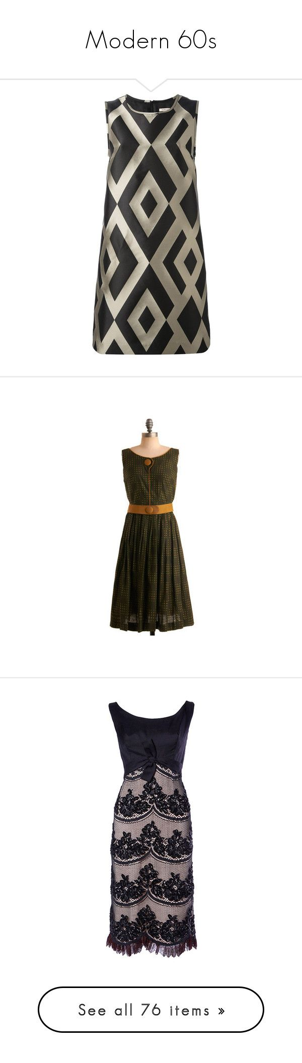 """Modern 60s"" by magical-muse ❤ liked on Polyvore featuring dresses, vestidos, brown, sleeveless dress, straight dresses, sleeveless a line dress, a-line dresses, zip back dress, vintage and brown vintage dress"