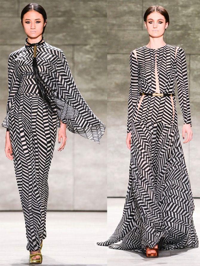 Черно-белые платья осень-зима 2015-2016