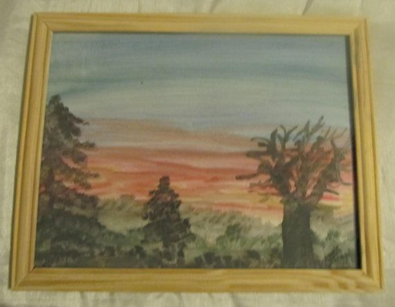 Small watercolor painting Sunrise by RandomWishes32 on Etsy
