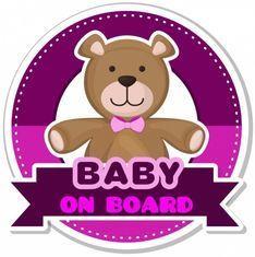 Autoaufkleber - BABY ON BOARD - pinker Bär