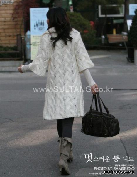 Вязание спицами со схемами пальто