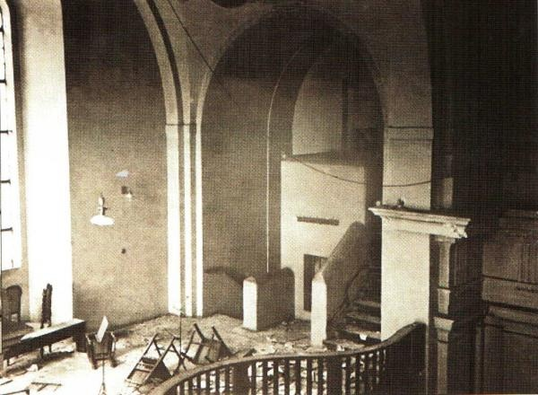 Adolf Opálka defended narrow stairs to gallery in church of Saints Cyril and Methodius