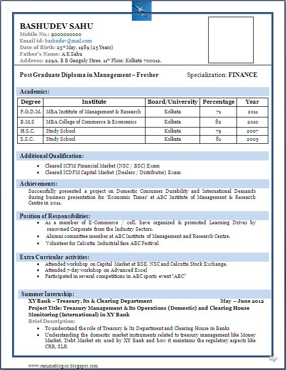 best resume format for freshers - Resume Freshers Format
