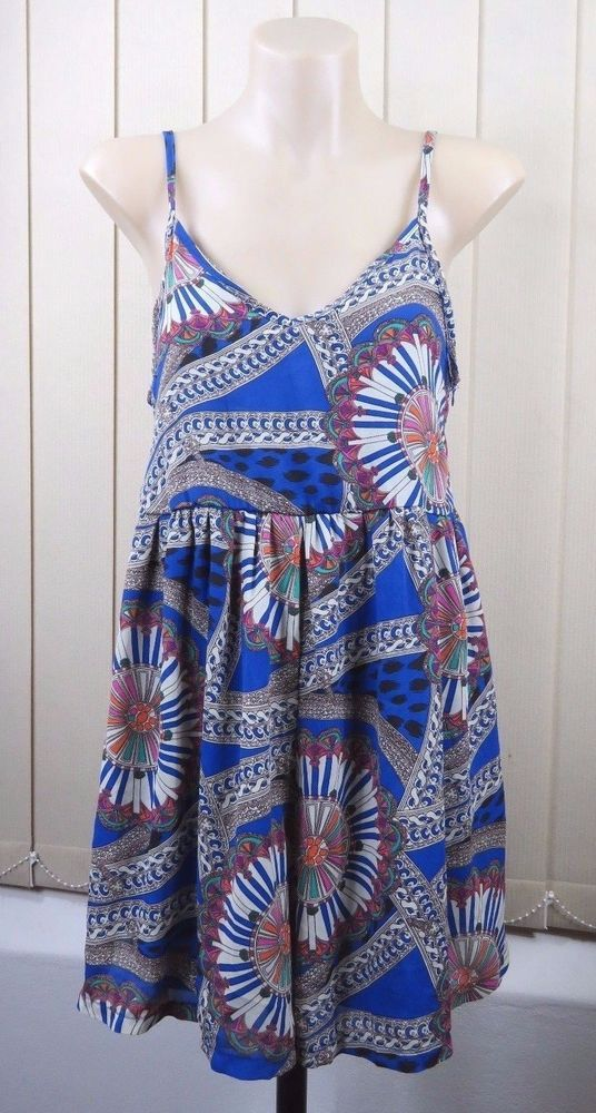 Size S 10 Ladies Blue Jump Suit Shorts Casual Gypsy Boho Chic Paisley Hip Style #PassionFusion #JumpSuit #SummerBeach