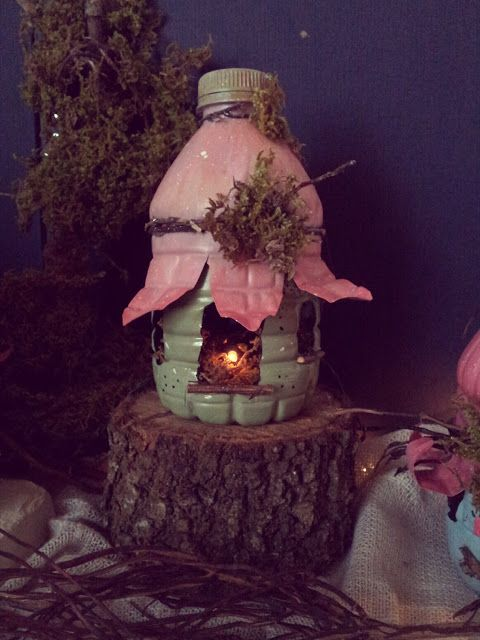 Make this precious fairy house from a platic bottle...Recycle Reuse Renew Mother Earth Projects: How to make Fairy Houses from Recycled Materials