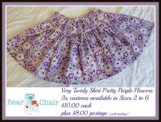 Handmade By Bear In A Chair Very Twirly Skirt in Pretty Purple Flowers 3x customs available in Sizes 2 to 6