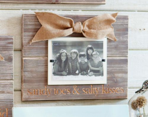 mud pie sandy toes photo frame distressed wood frame reads sandy toes salty kisses and is accented with burlap bow - Mud Pie Frames