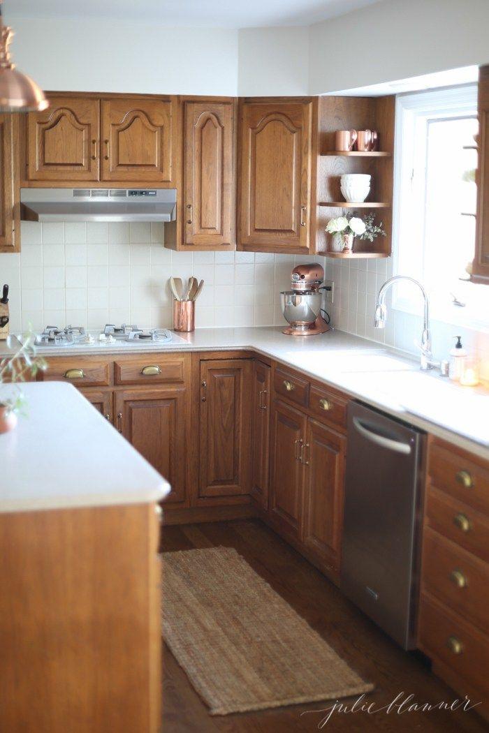 5 ideas update oak cabinets without a drop of paint rh pinterest com