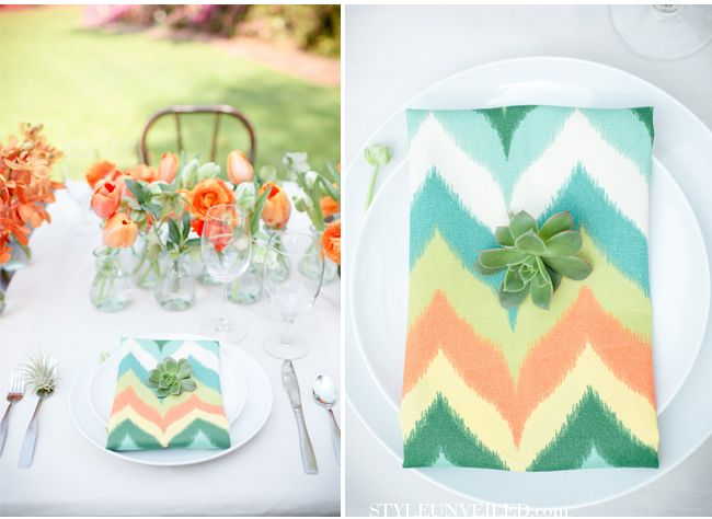 This Chevron print napkin in bright yet soft hues is a perfect compliment to a garden wedding design. LOVE it.