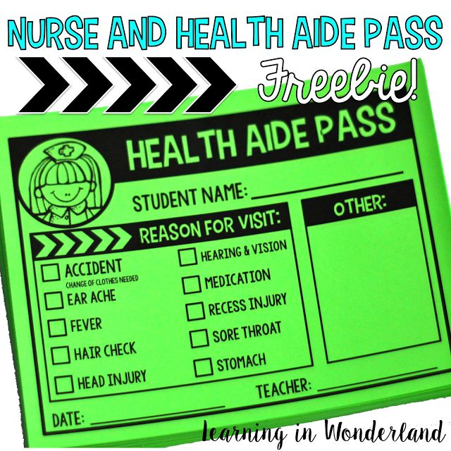 Learning in Wonderland Nurse and Health Aide Pass FREEBIE