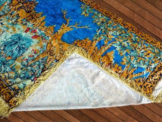#Vintage plush wall rug carpet with deer, Rug, Kilim, Decorative wall carpet tapestry, Handmade vintage USSR, Plush Carpet, Velvet Textile  Famous plush carpet that was part... #etsy #vintage #gift #nostalgishop #bedcover