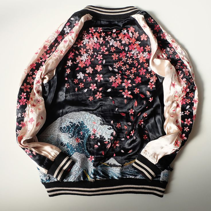 Japan SAKURA Cherry Blossoms Katsushika Hokusai Wave KOI Souvenir Sukajan Jacket - Japan Lover Me Store