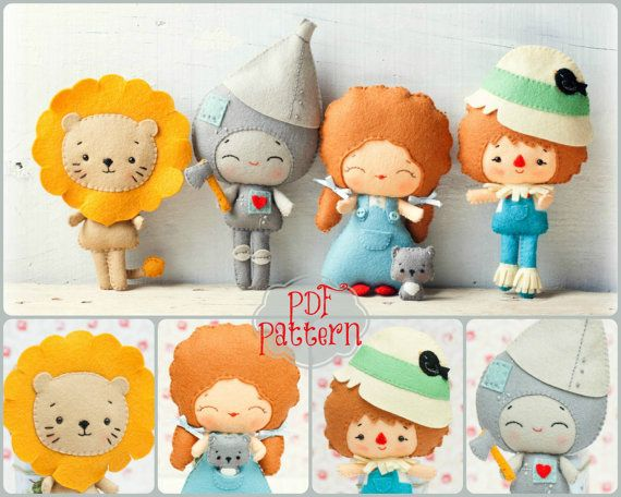PDF. The wizard of Oz pattern. Fairy tale pattern. Plush Doll Pattern, Softie Pattern, Soft felt Toy Pattern.
