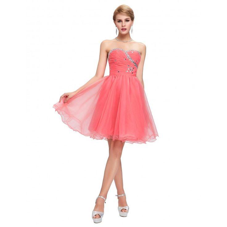 Lososové spoločenské šaty CL4503