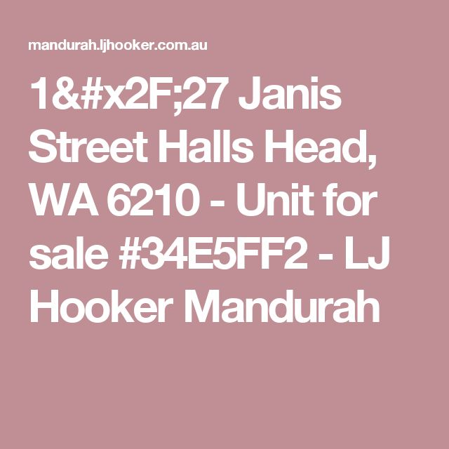 1/27 Janis Street Halls Head, WA 6210 - Unit for sale #34E5FF2 - LJ Hooker Mandurah