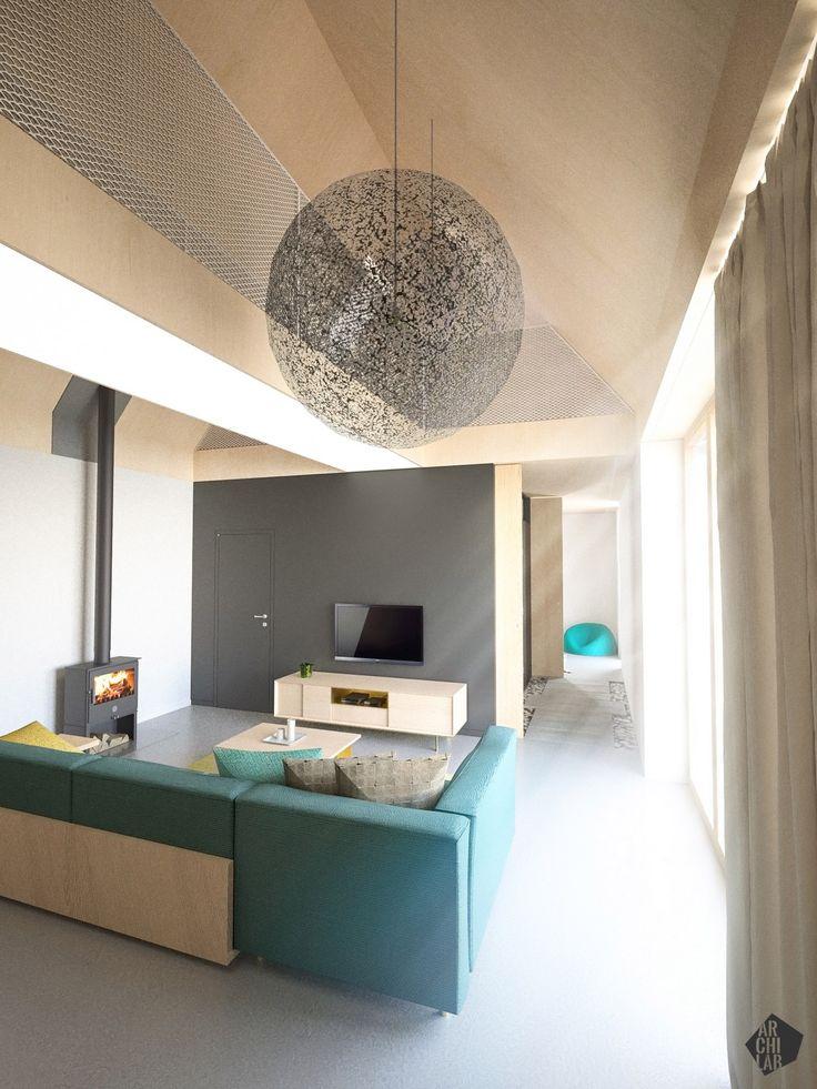 Návrh interiéru pasívneho domu, Dubová pri Modre - Interiérový dizajn / Living room interior by Archilab