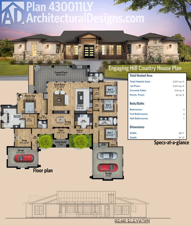 Ordinary Hill Country Plans #10: Architectural Designs Hill Country House Plan 430011LY Has A Split Bedroom  Layout And A Huge Covered