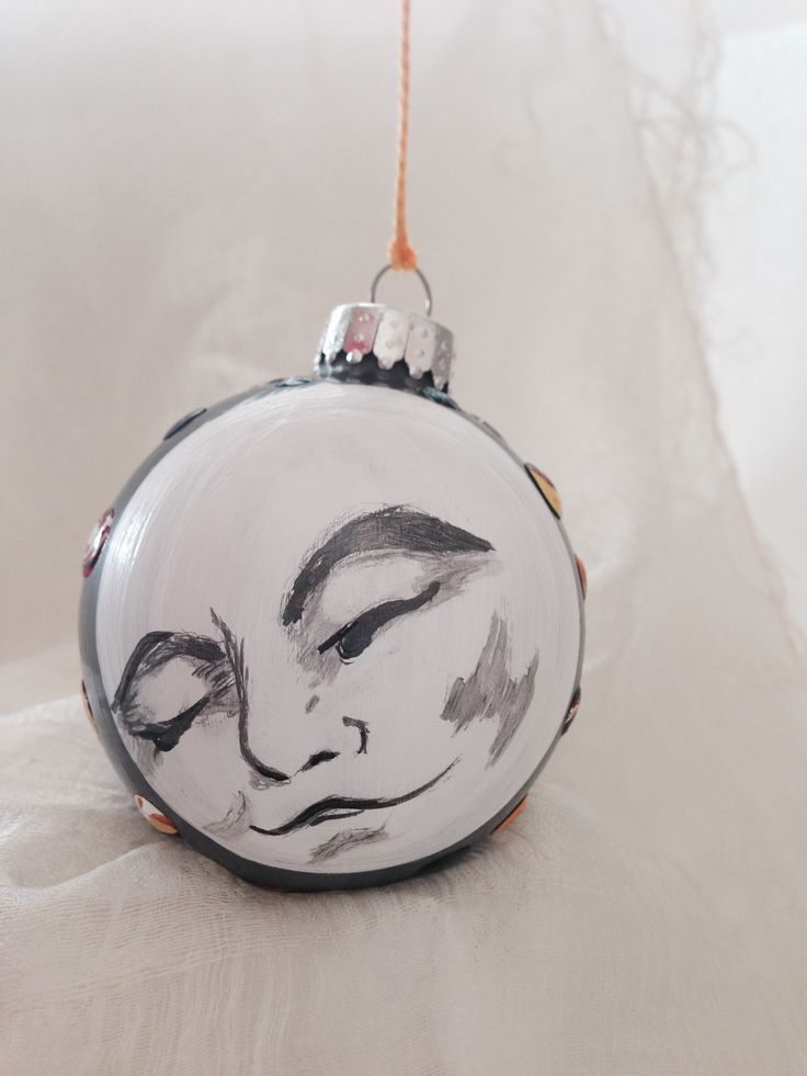 Watch-full moon ornament handpainted by Melissa McNamara