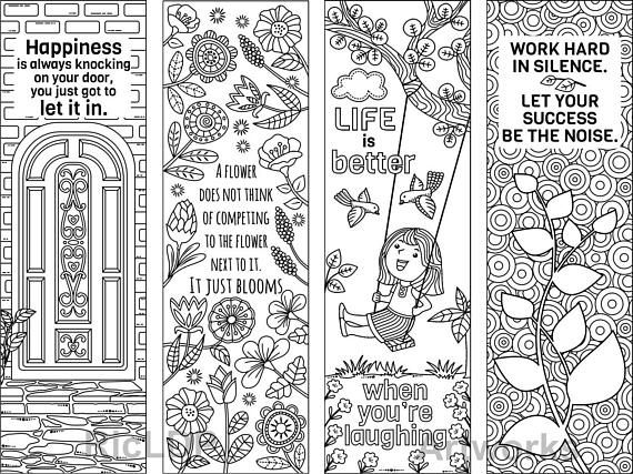 Set of 8 Coloring Bookmarks with Feel Good Quotes Cute