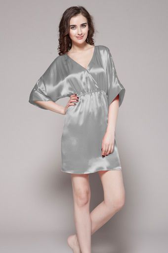 Silvergray color 100-percent high quality and real natural silk nighty are on sale in perfect condition. $88 #nightgowns #silk #lilysilk
