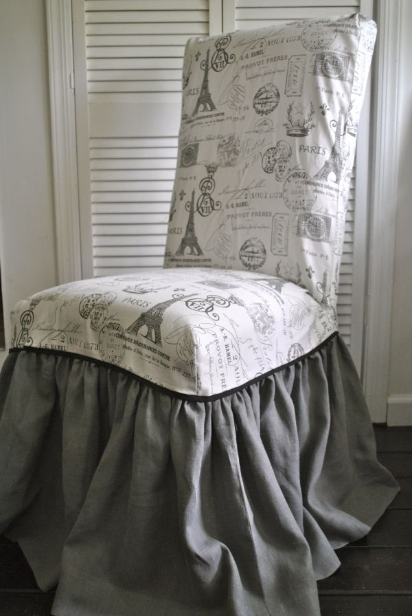 Paris Chic Chair Slipcover.  Love the combination of the print with the solid ruffle