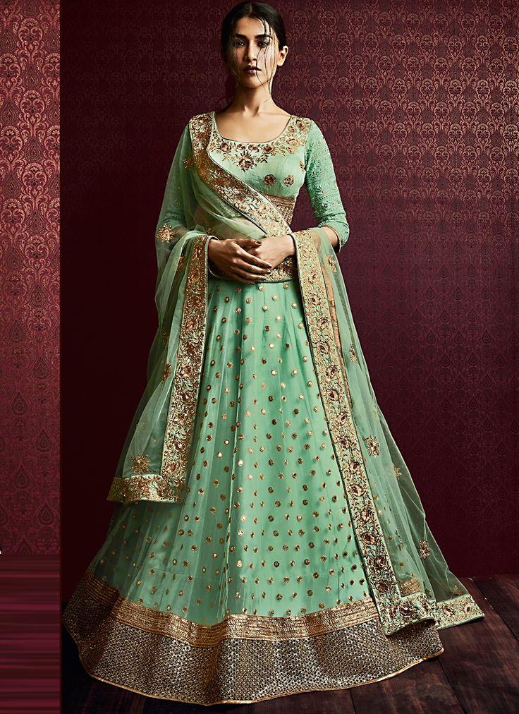 Shop Vivid Light Turquoise Net Designer Lehenga Choli Bridal/wedding wear suit online from India with free worldwide shipping offer