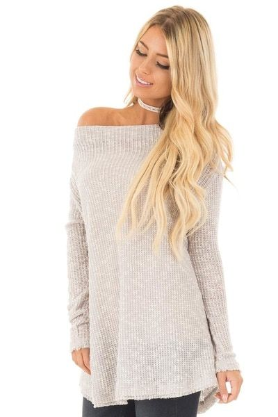 9364d3a6f9b301 Heather Grey Knit Off Shoulder Sweater with Slit Back