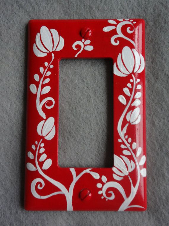Handpainted Red Hungarian Embroidery Motif Light by TheFoxandBear, $15.00