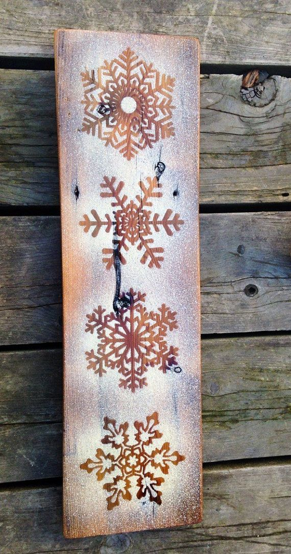 Rustic snowflake winter wall decor rustic by BareBearMOOSE on Etsy