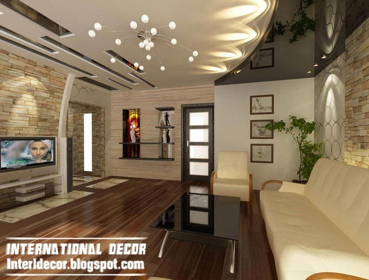 Living Room (TV Unit area) - False Ceiling