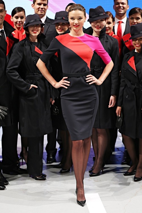 Miranda Kerr Unveils The New Qantas Airlines Uniform in Sydney on April 16, 2013