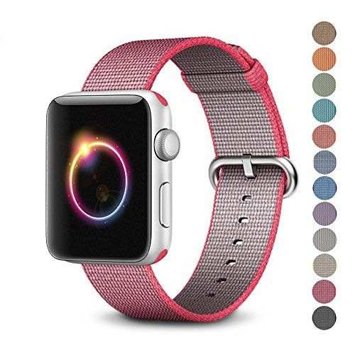 Woven Nylon Replacement Band for the Apple Watch by Pantheon Womens or Mens Strap fits the 38mm or 42mm for Apple iWatch 1 2 3 and Nike edition
