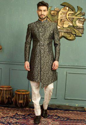 b39dbb7466 Woven Art Silk Jacquard Sherwani Set in Black and Off White in 2019 ...